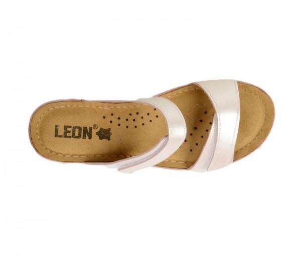 Sandale ortopedice pentru dame cu platforma Leon 1040 Perla