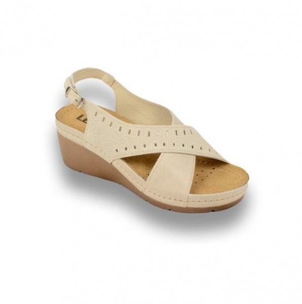 Sandale ortopedice pentru dame cu platforma Leon 1030 Bej